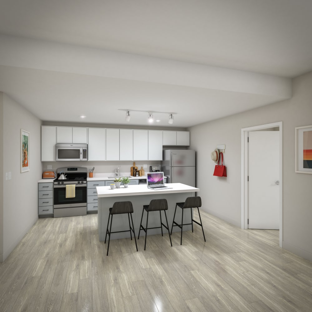 Fully equipped kitchen with stainless steel appliances at UNCOMMON Raleigh in Raleigh, North Carolina