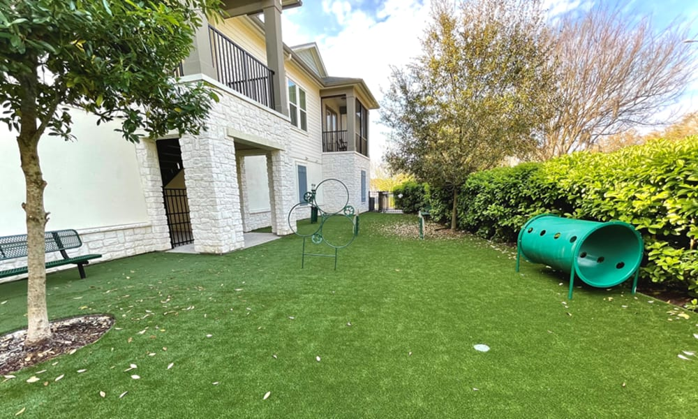 Onsite dog park with agility course and green grass at Alaqua in Jacksonville, Florida