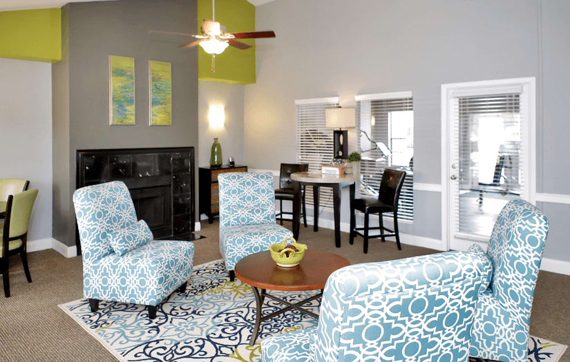 Clubhouse interior at Promontory Point Apartments in Austin, Texas