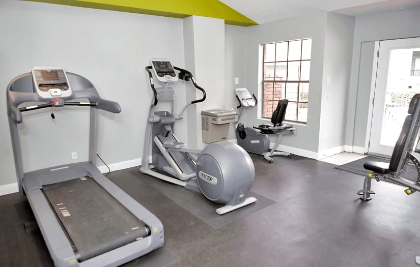 Another view of the fitness center at Promontory Point Apartments in Austin, Texas
