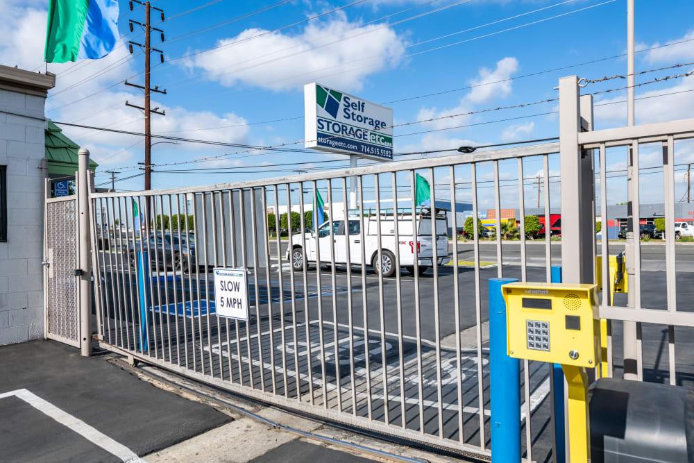 Code gate entrance at Storage Etc... Anaheim