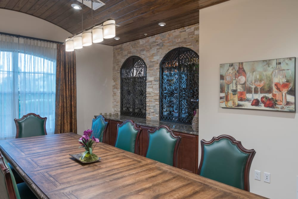 Private dining room at Merrill Gardens at ChampionsGate in ChampionsGate, Florida.