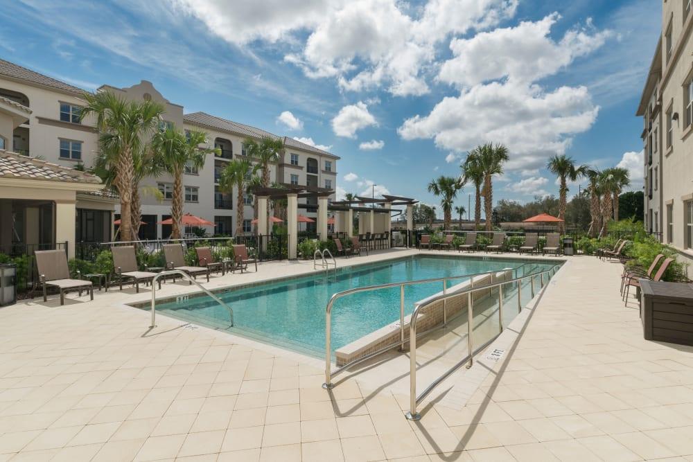 Heated pool at Merrill Gardens at ChampionsGate in ChampionsGate, Florida.