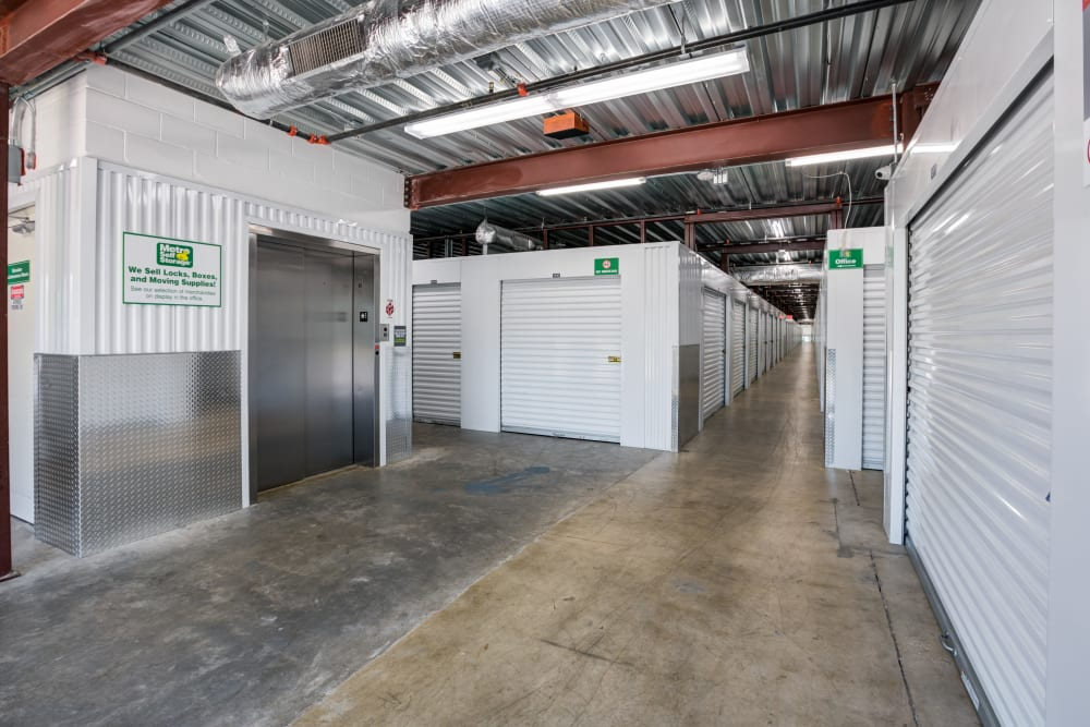Elevator access and dolly parking at Metro Self Storage in Orlando