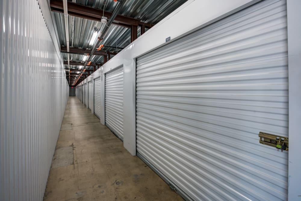 Indoor hallway access to storage units at Metro Self Storage in Orlando