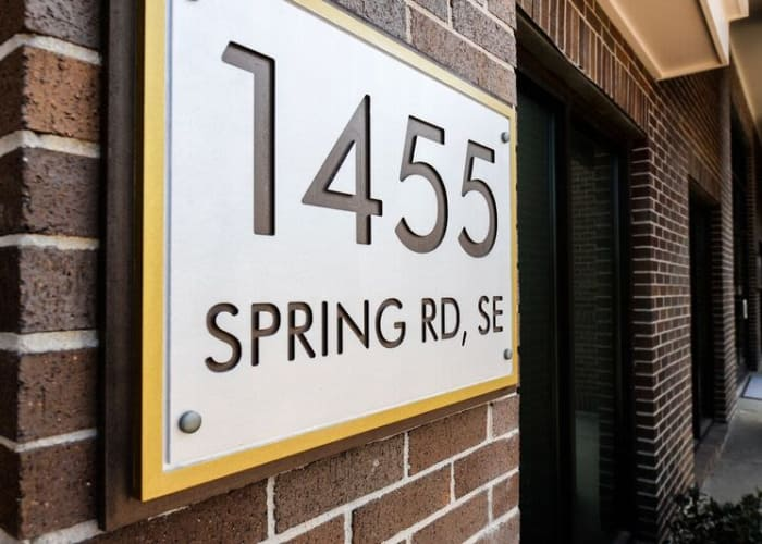 Address signage outside of Alta at Jonquil in Smyrna, Georgia
