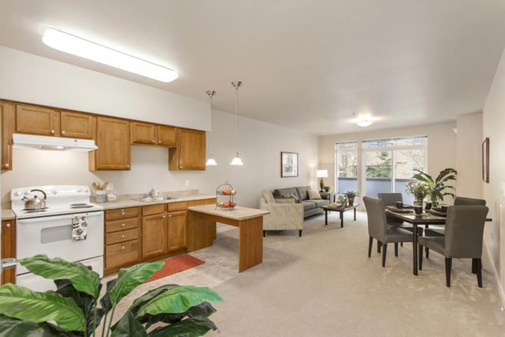 Resident apartment at Merrill Gardens at Kirkland in Kirkland, Washington.