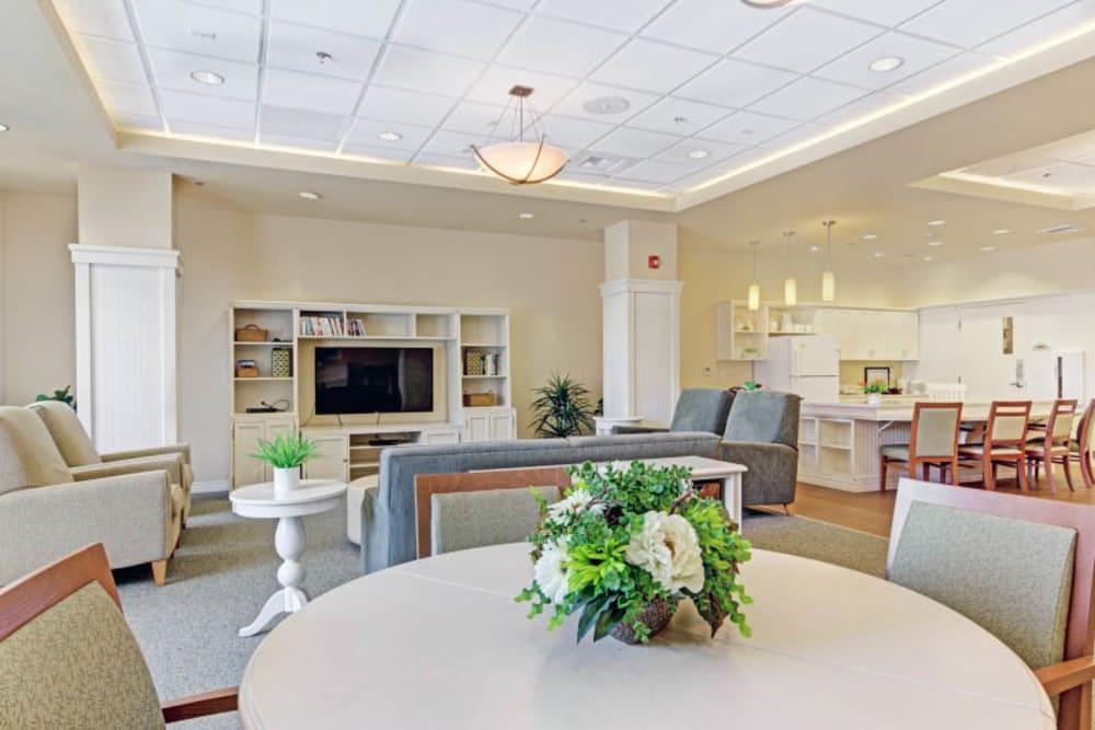 Community room at Merrill Gardens at Lafayette in Lafayette, California.