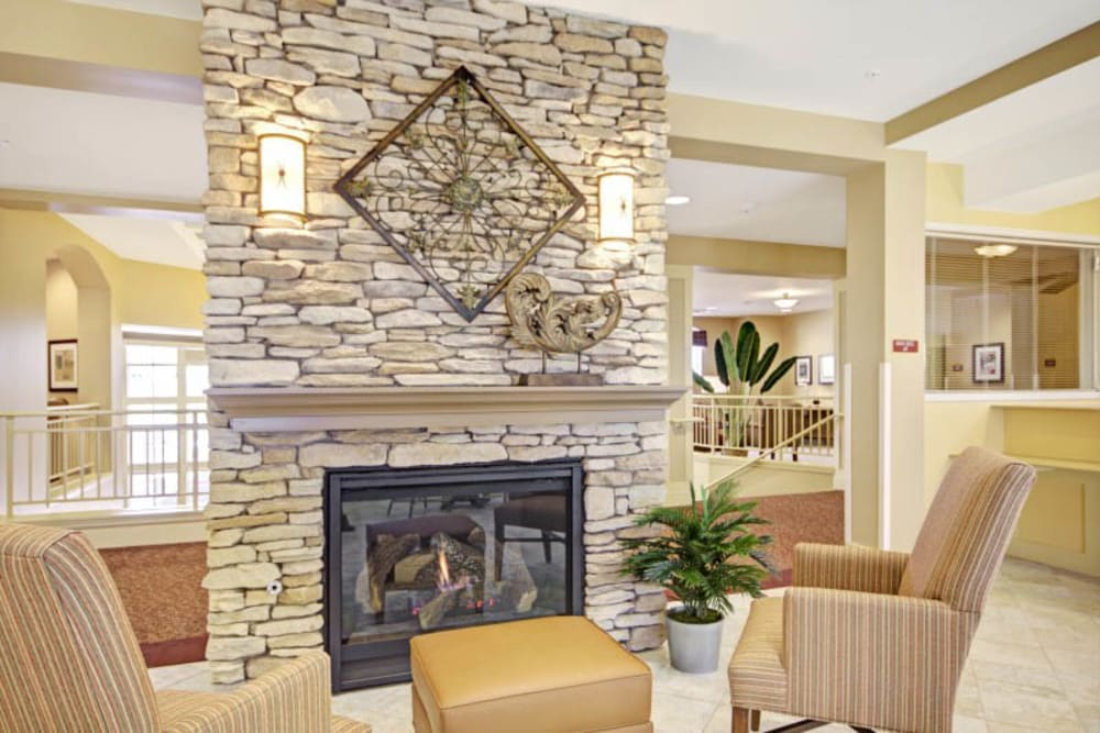 Fireplace at The Oaks, A Merrill Gardens Community in Gilbert, Arizona.