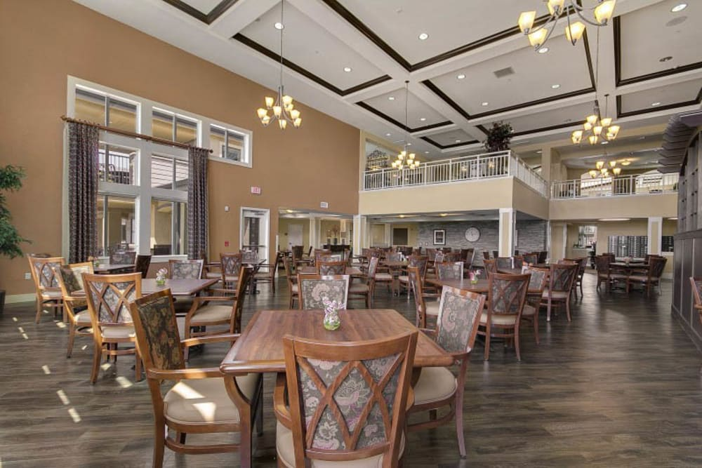 Resident dining room at The Pines, A Merrill Gardens Community in Rocklin, California.