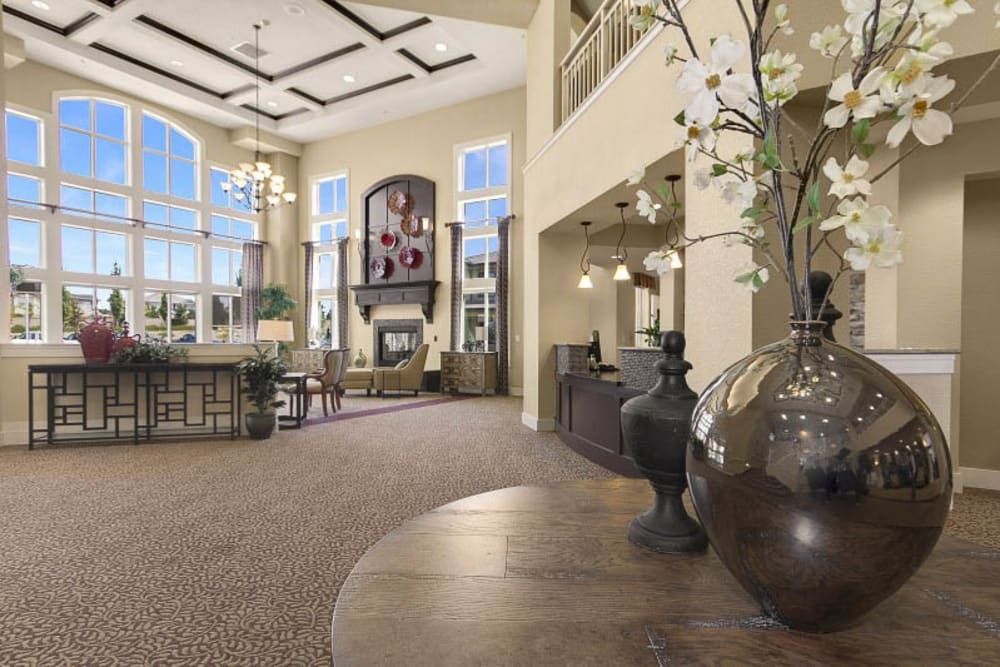 Spacious lounge at The Pines, A Merrill Gardens Community in Rocklin, California.