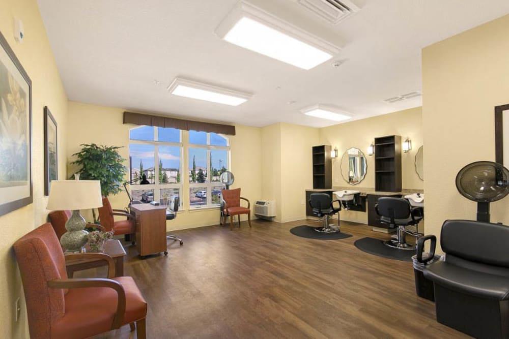 The salon at The Pines, A Merrill Gardens Community in Rocklin, California.