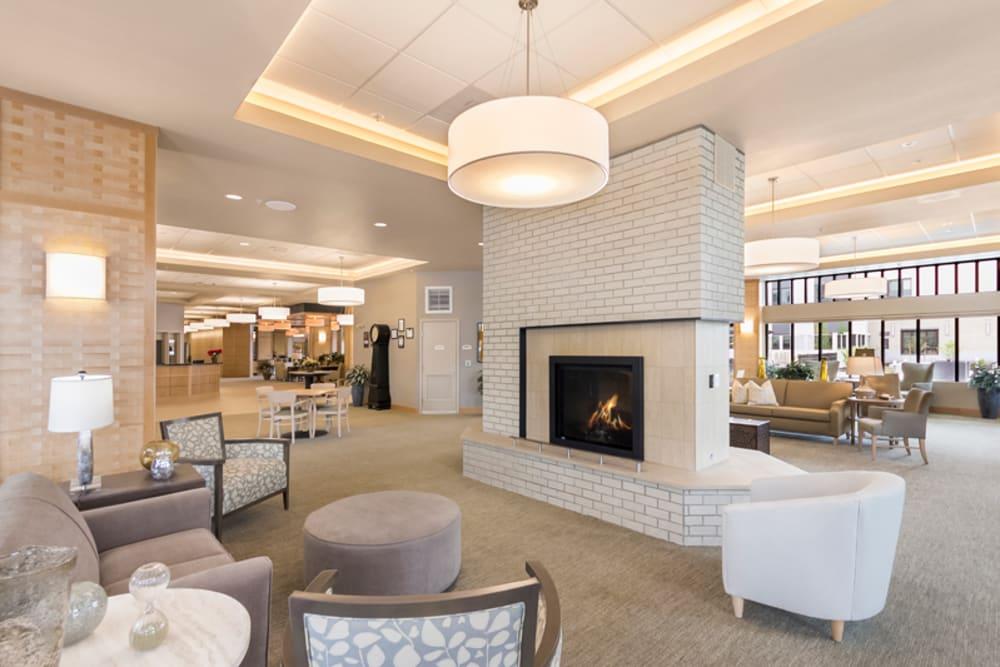 Fireplace at Merrill Gardens at Auburn in Auburn, Washington.