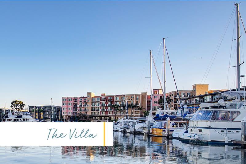 Beautiful morning view of the marina right outside The Villa at Marina Harbor in Marina del Rey, California