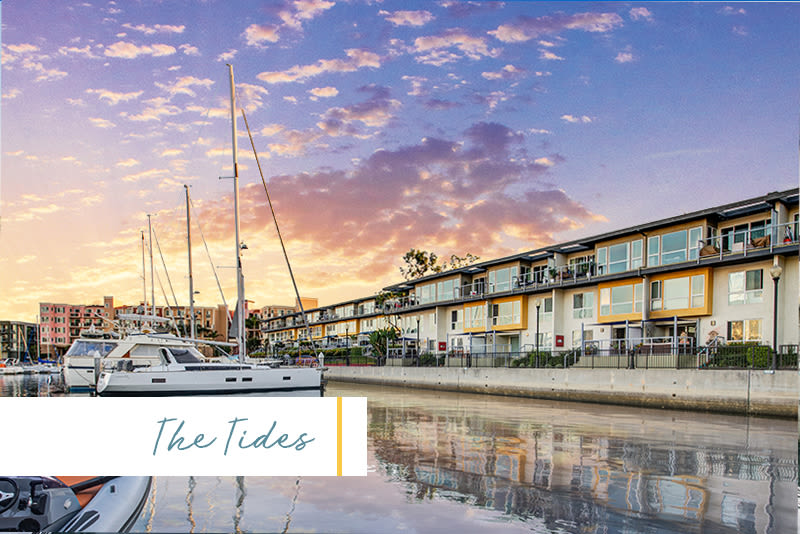Dazzling sunset over the marina and our waterfront community at Marina Harbor in Marina del Rey, California
