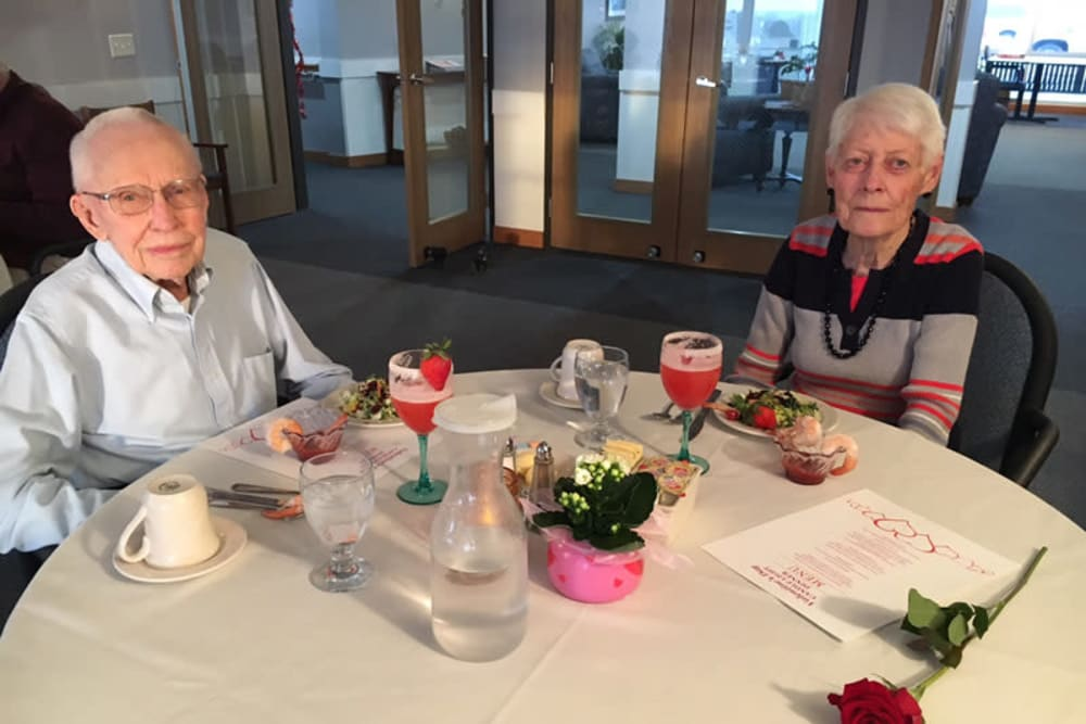 Resident couple enjoying a meal at The Lakeside Village in Panora, Iowa.