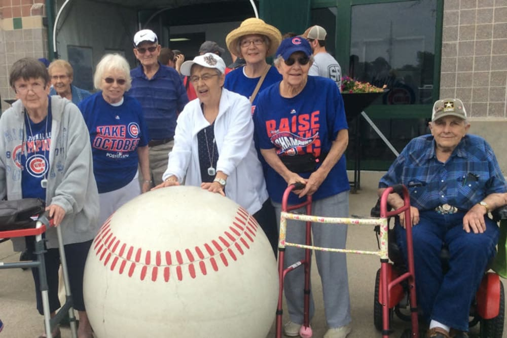 Residents at a baseball game near The Lakeside Village in Panora, Iowa.