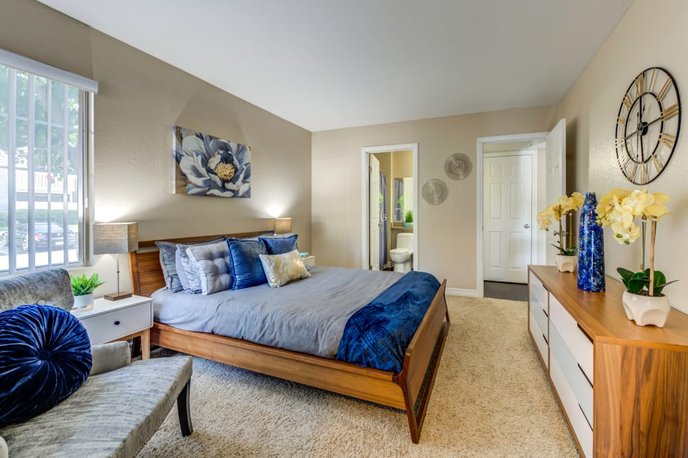 Giant master bedroom with modern decor at Village Oaks in Chino Hills, California