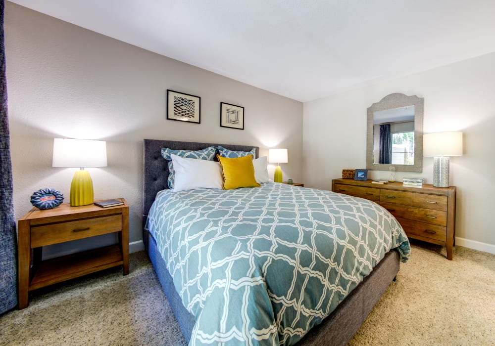 Well-furnished master bedroom in a model home at Sofi Sunnyvale in Sunnyvale, California