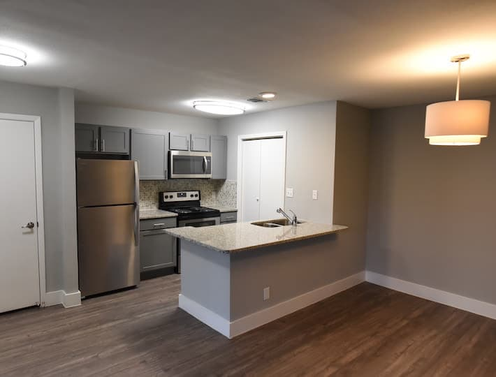 Modern kitchen at Turtle Creek Vista Apartments in San Antonio, Texas