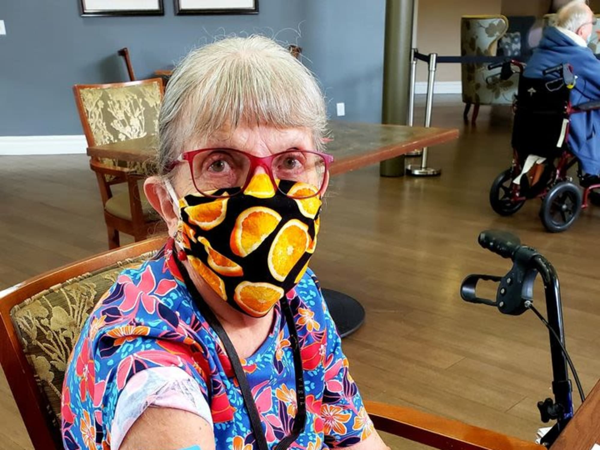 Resident with a mask at Citrus Place in Riverside, California