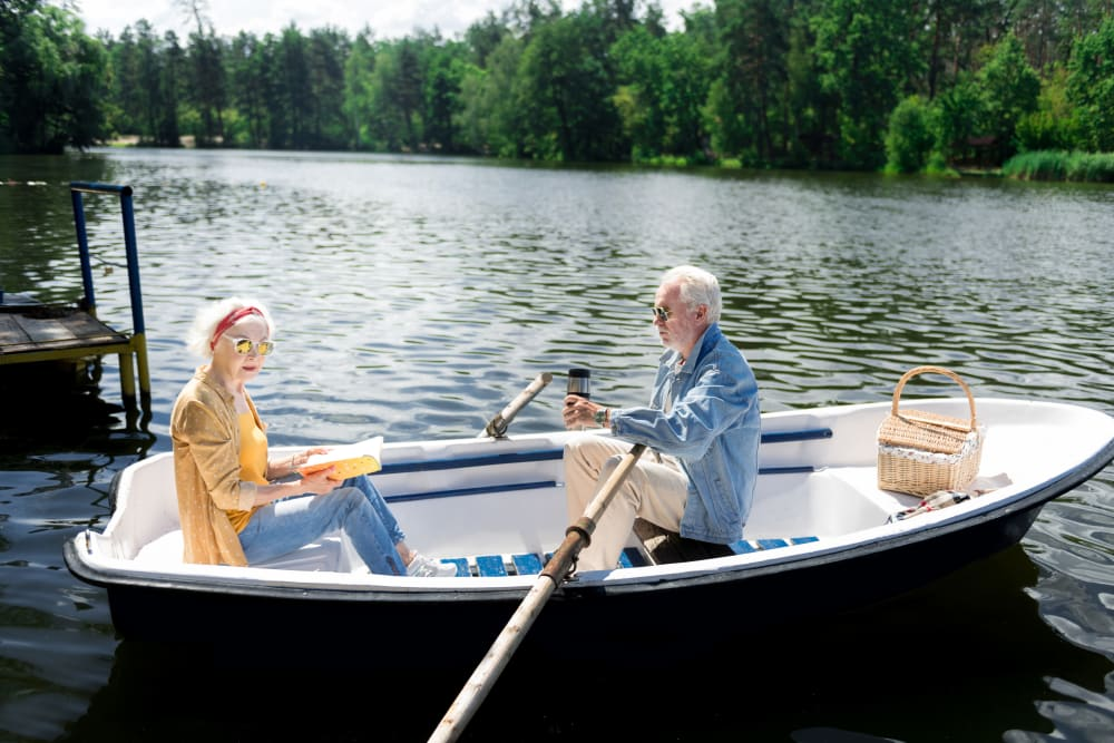 Two residents in a canoe near The Iris Senior Living in Great Falls, Montana