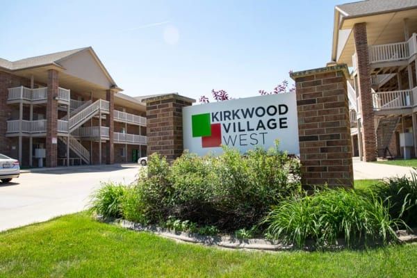 Sign of Kirkwood Village West in Cedar Rapids, Iowa