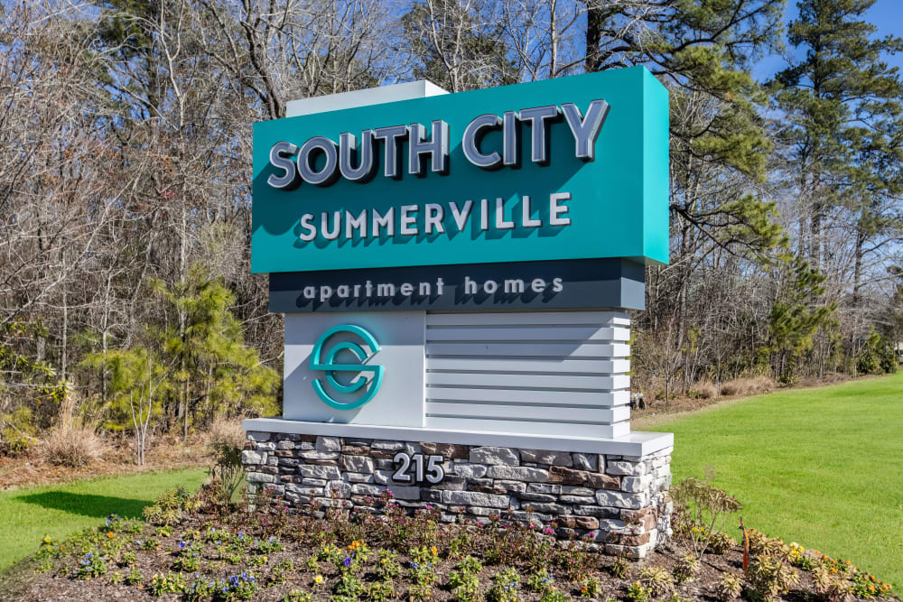 Sign at South City Apartments in Summerville, South Carolina
