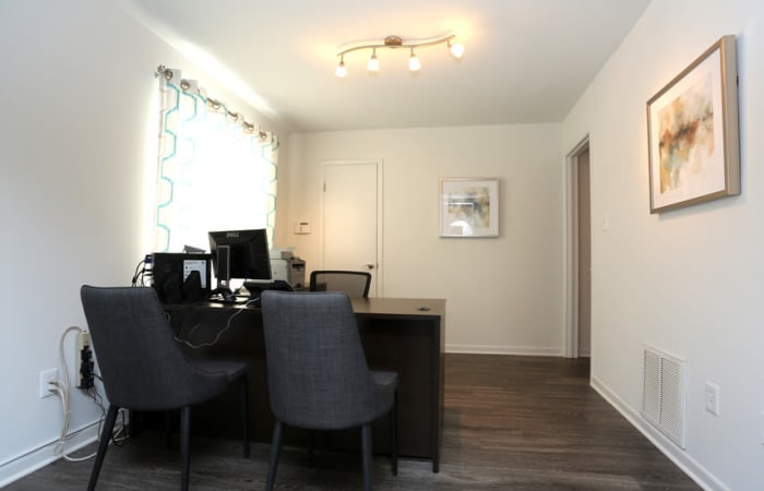 Office with hardwood floors in model home at Residences at Sonoma Woods in Newport News, VA