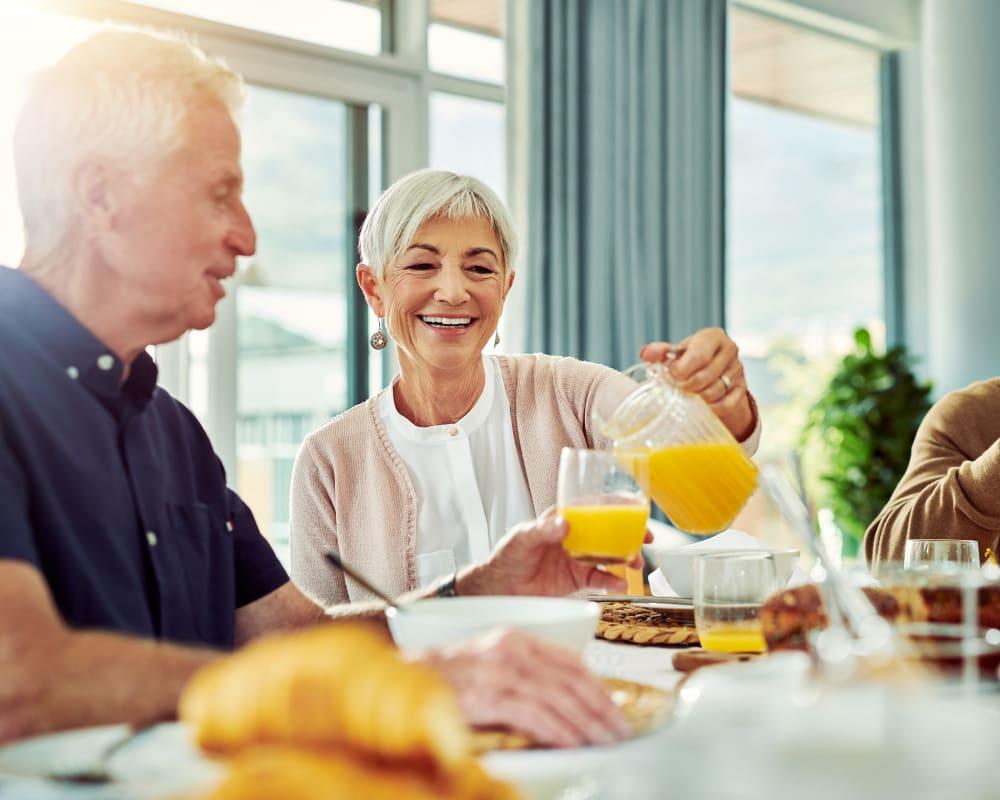 Residents dine for breakfast at Landings of Blaine in Blaine, Minnesota.