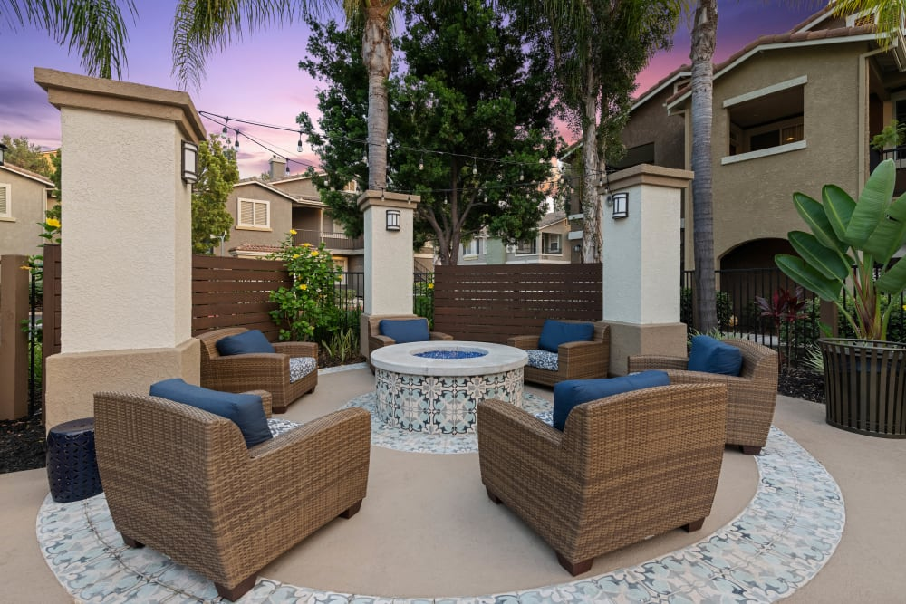 Outdoor seating area with firepit at Sofi Westview in San Diego, California