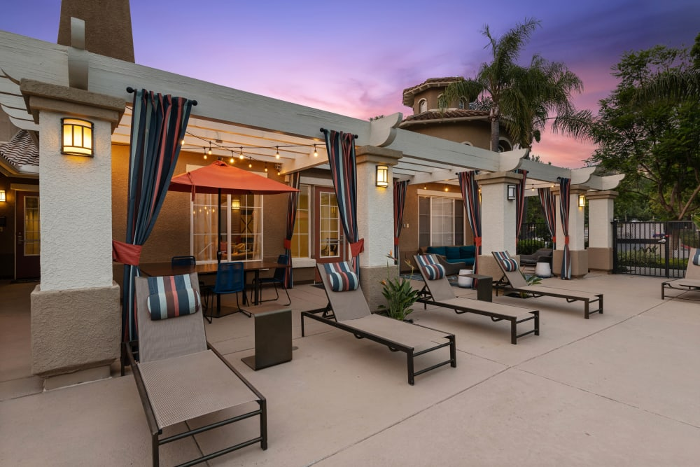 Lounge seating with shade structures at Sofi Westview in San Diego, California