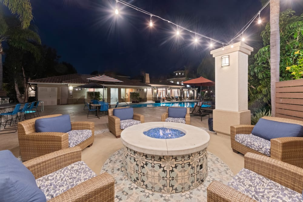 Outside lounge area with firepit at Sofi Westview in San Diego, California