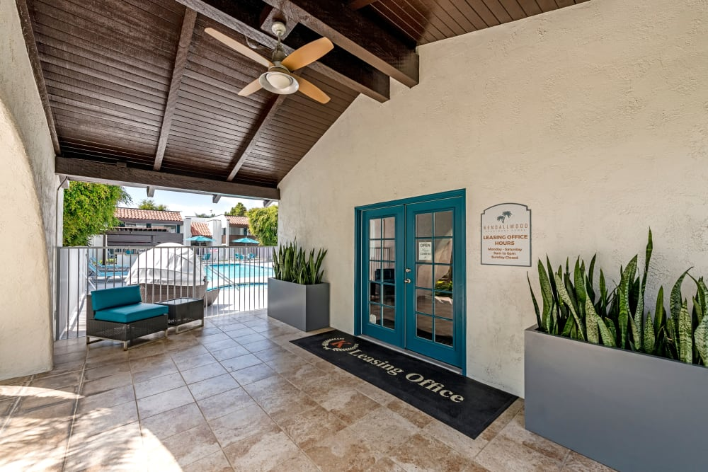 Leasing office entryway at Kendallwood Apartments in Whittier, California