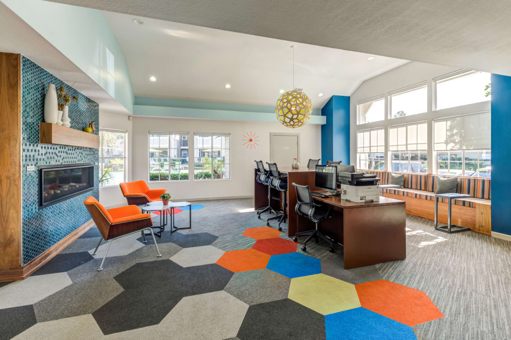 Community common area for resident use at Village Oaks in Chino Hills, California