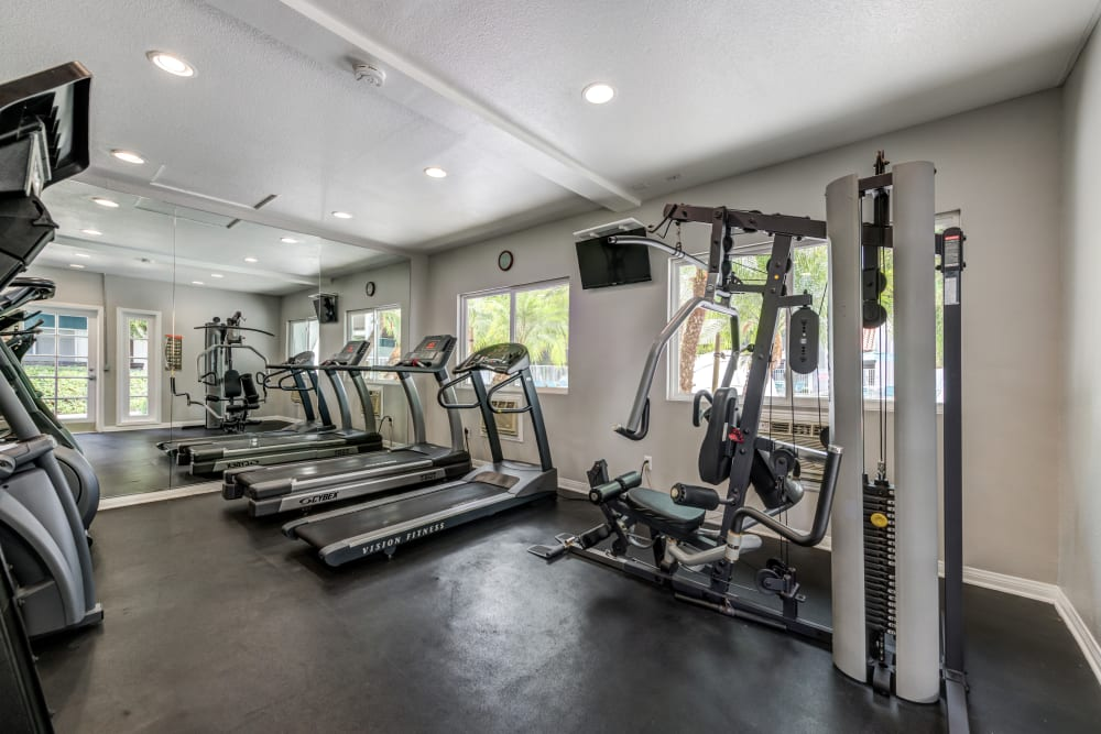 Fitness center with plenty of individual workout stations at Kendallwood Apartments in Whittier, California