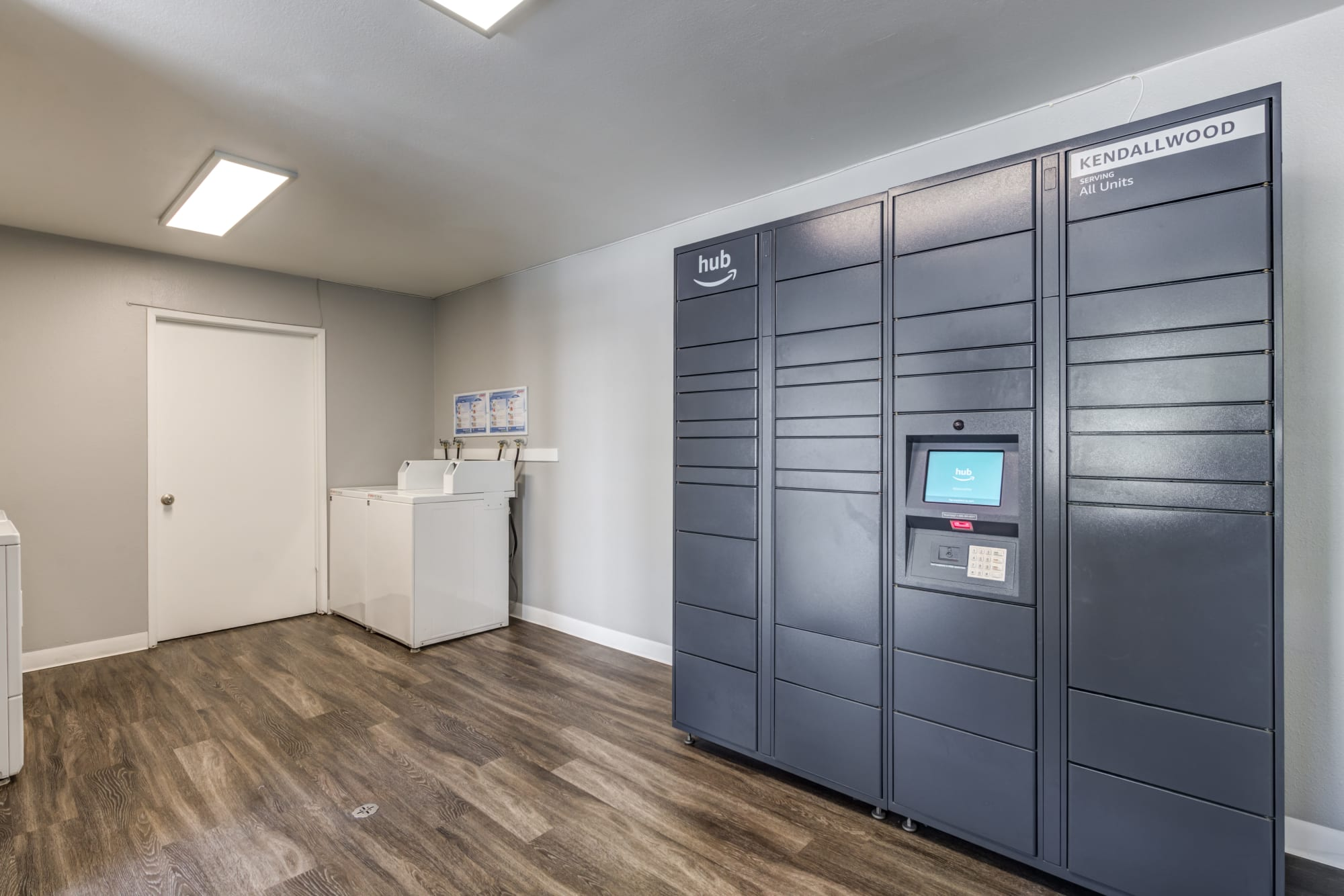Package lockers at Kendallwood Apartments in Whittier, California