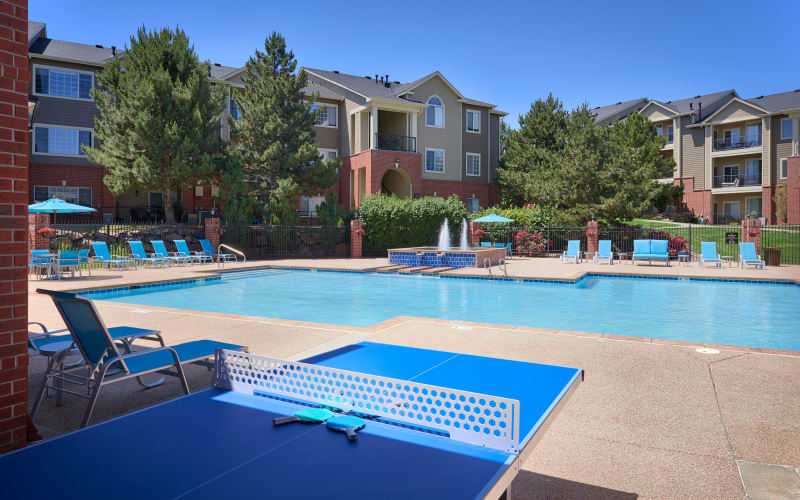 Ping pong table near the pool at Skyecrest Apartments in Lakewood, Colorado