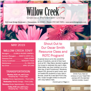 May Willow Creek Gracious Retirement Living newsletter