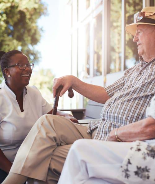 Resident and caregiver at Stonecrest Senior Living community