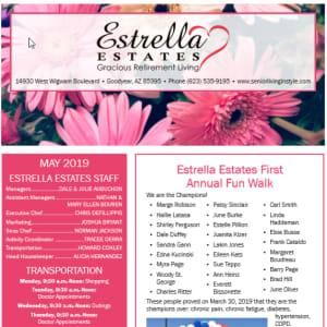 May Estrella Estates Gracious Retirement Living newsletter