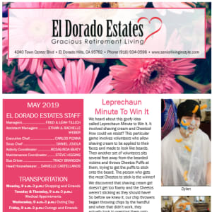 May El Dorado Estates Gracious Retirement Living newsletter