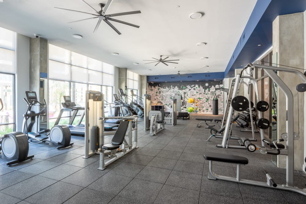 Well lit fitness center at  in San Antonio,TX