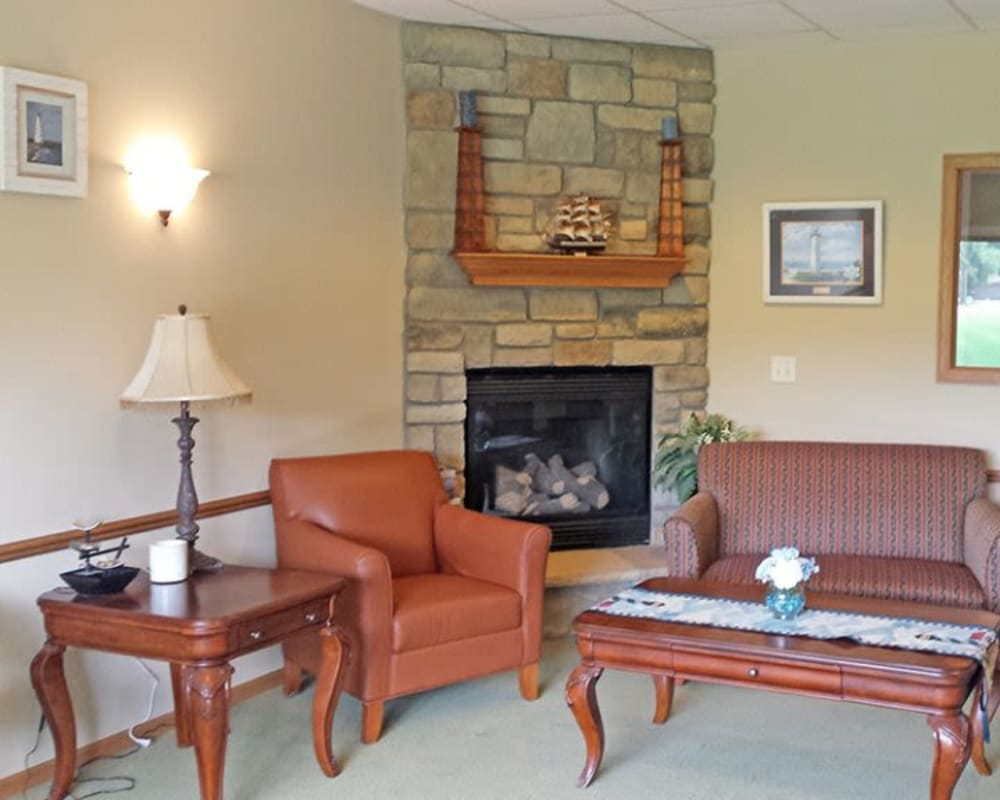 Cozy resident seating area at Arbor View in Burlington, Wisconsin.