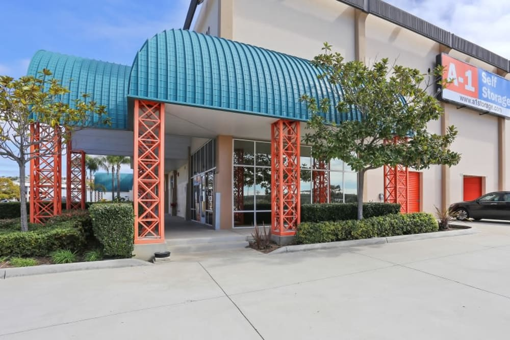 Exterior of the main office at A-1 Self Storage in San Diego, California