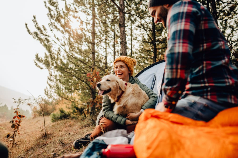 Two customers and their dog at a pine-forested campsite near Trojan Storage in Salinas, California