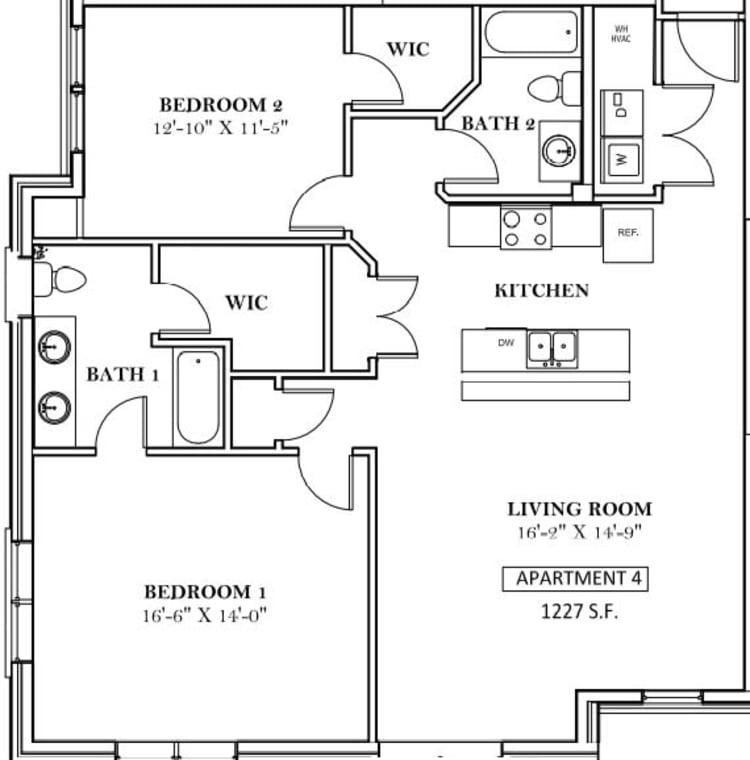Unit 206 floor plan at lCallio Propertiesin Chattanooga, Tennessee