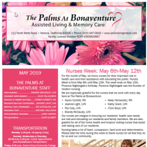 May Palms at Bonaventure Assisted Living newsletter
