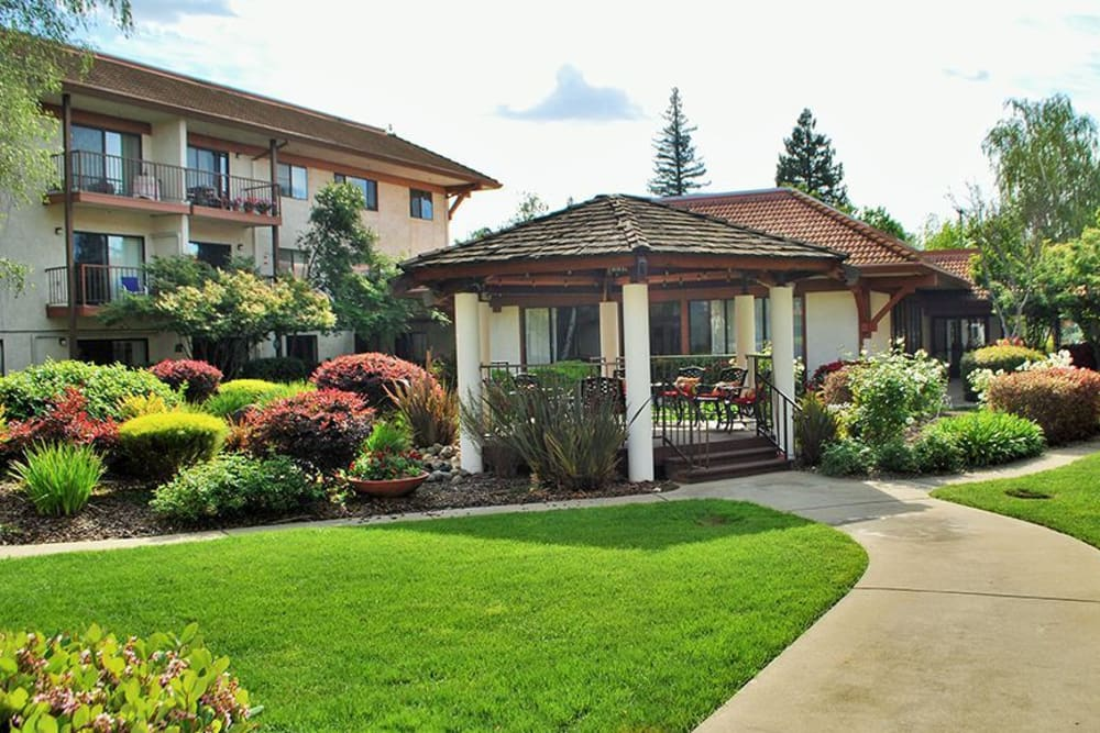 Gazebo surrounded by lovely garden at Roseville Commons Senior Living in Roseville, California