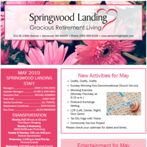 May Springwood Landing Gracious Retirement Living newsletter